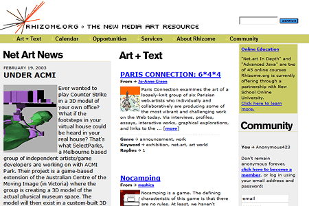 Rhizome.org in 2003
