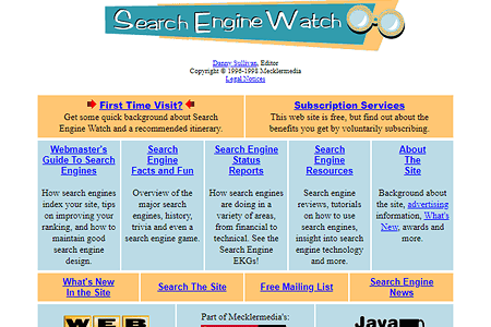 Search Engine Watch in 1996
