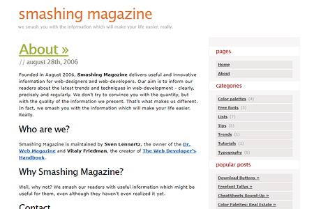 Smashing Magazine website in 2006