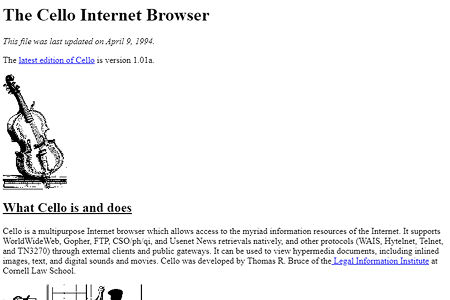 The Cello Internet Browser in 1994