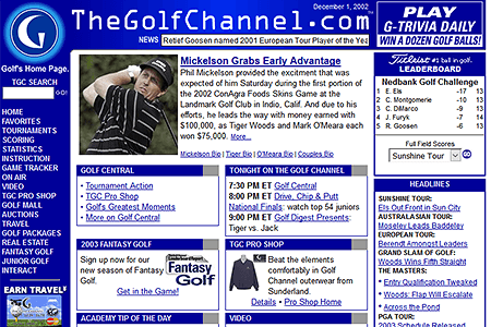 The Golf Channel in 2002