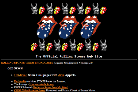 The Official Rolling Stones Web Site in 1996