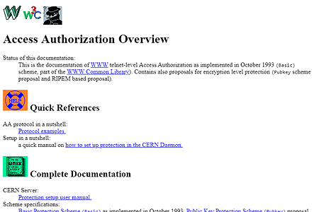 W3C Access Authorization in 1993