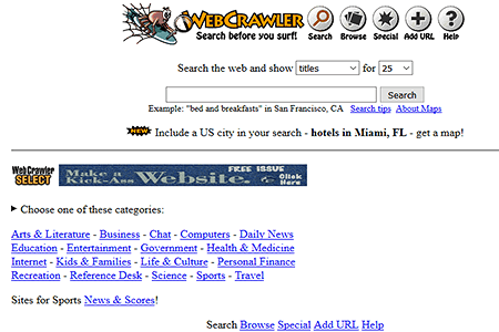 Webcrawler in 1996