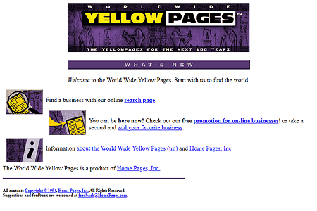 World Wide Yellow Pages 1995