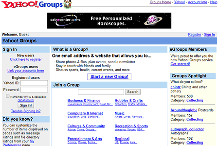 Yahoo Groups in 2001