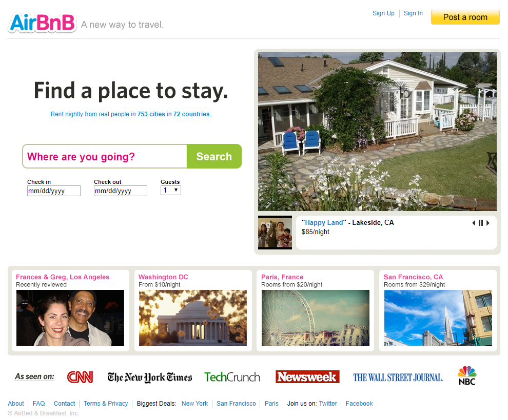 AirBnB in 2009
