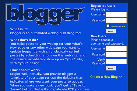 Blogger.com website in 1999