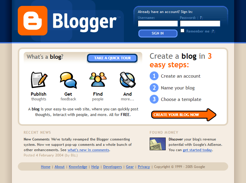 Blogger in 2005