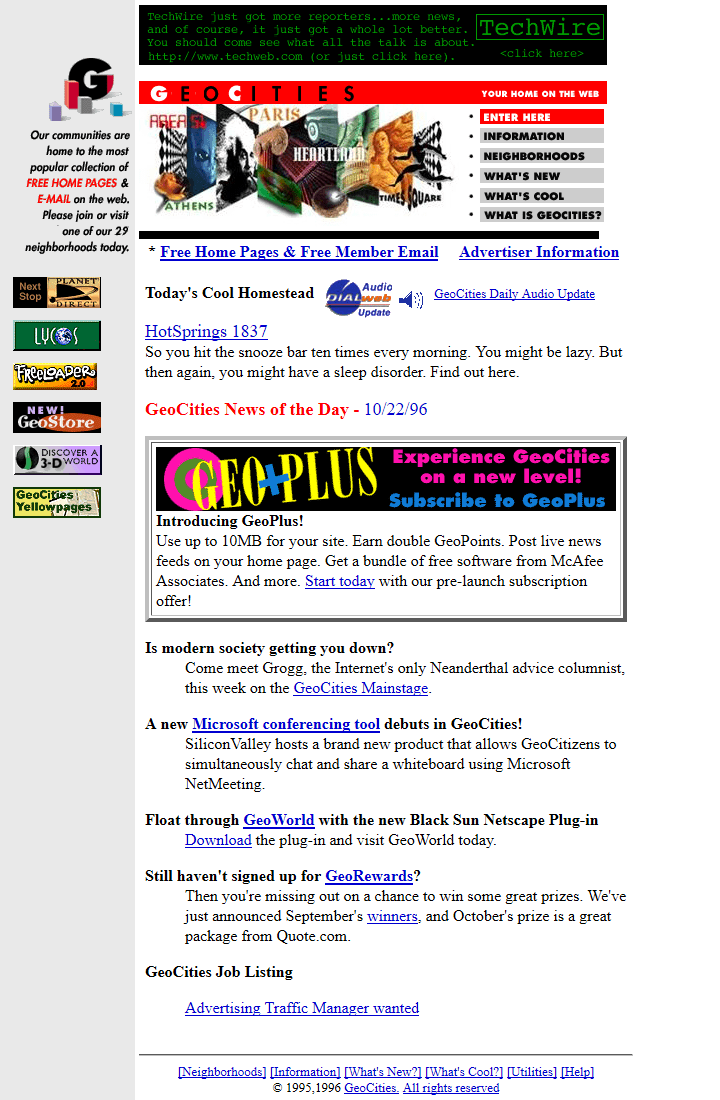 GeoCities in 1996