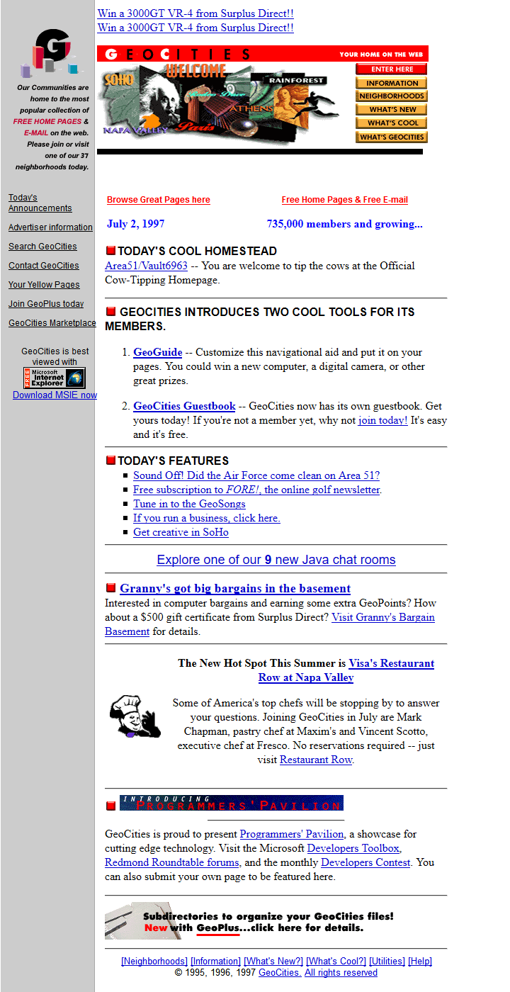 GeoCities in 1997