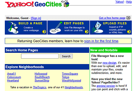 GeoCities in 1999