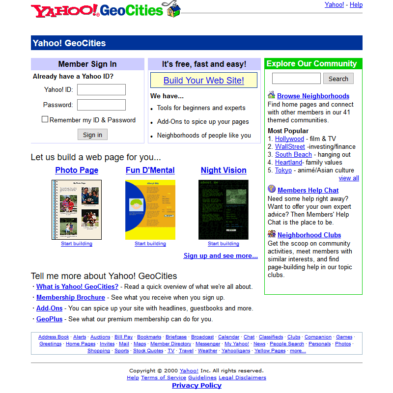 GeoCities in 2000