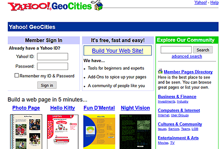 GeoCities in 2001