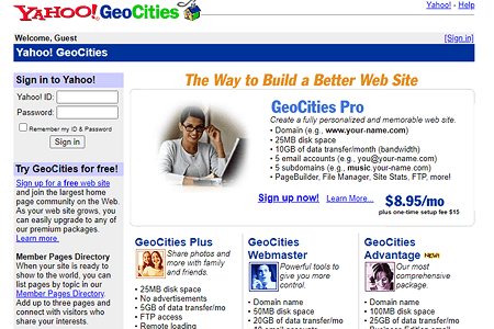 Yahoo! GeoCities 2002