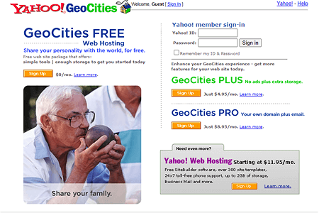 Yahoo! GeoCities in 2004