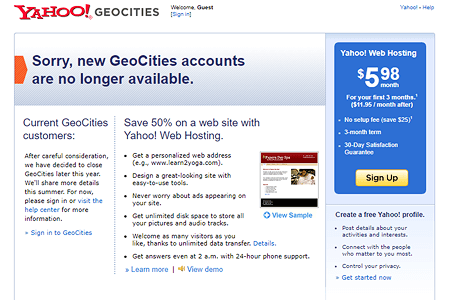 Yahoo! GeoCities in 2009