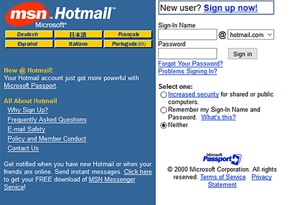 Hotmail in 2000