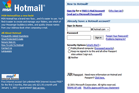 Hotmail in 2001