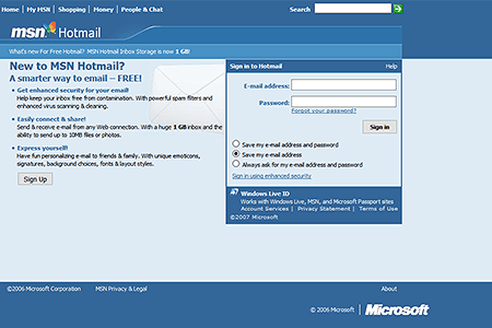 Hotmail in 2006