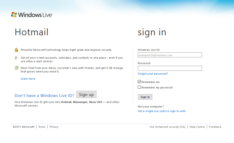 Hotmail in 2011