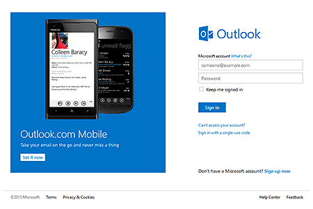 Hotmail - Outlook in 2013