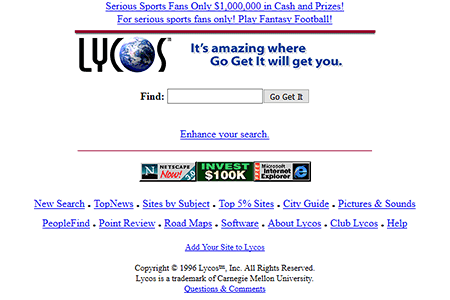 Lycos website in 1996