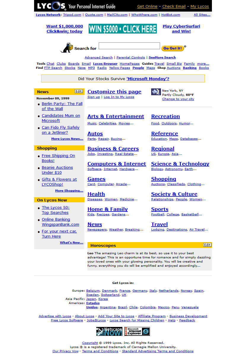 Lycos in 1999