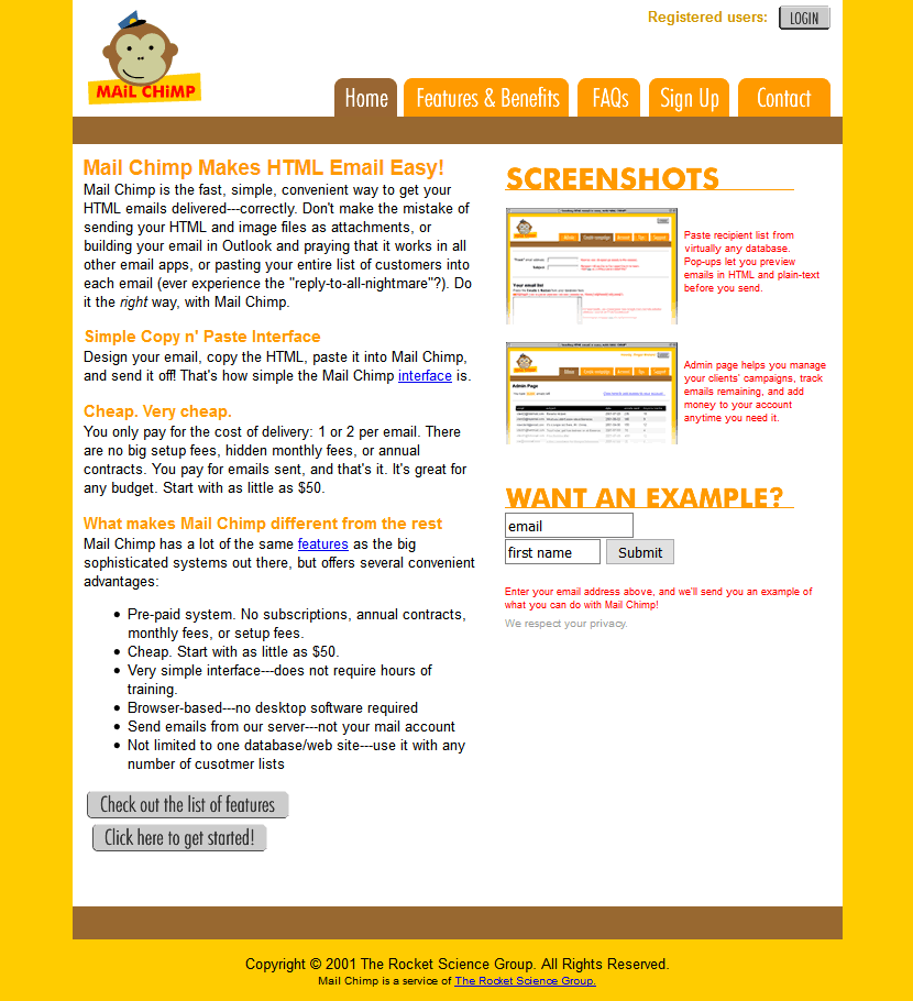 MailChimp in 2001