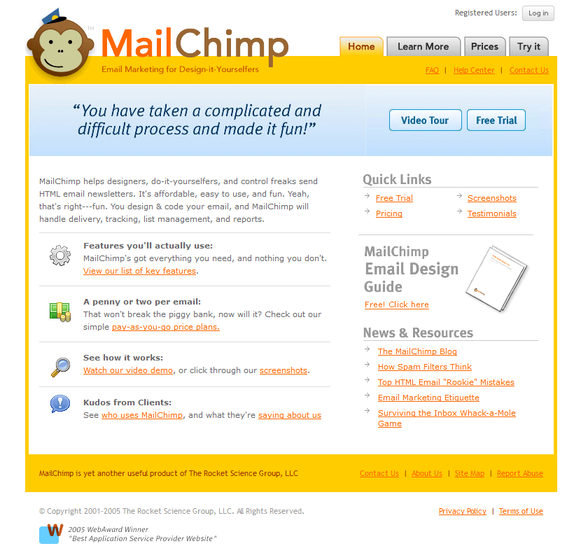 MailChimp in 2005
