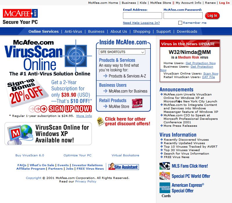 McAfee in 2001