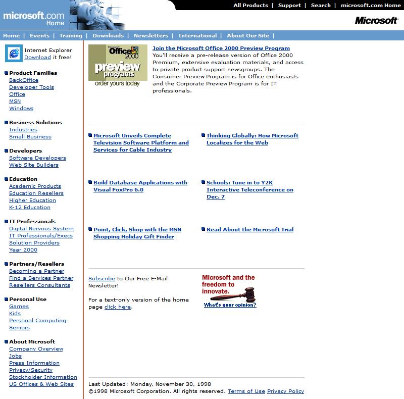 Microsoft In 1998 Web Design Museum