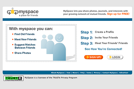MySpace website in 2003