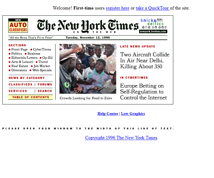 The New York Times in 1996