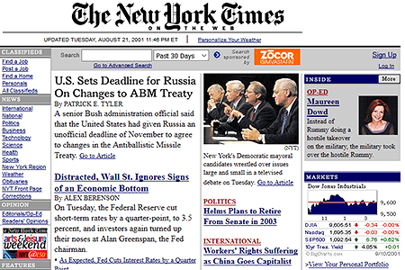 The New York Times in 2001
