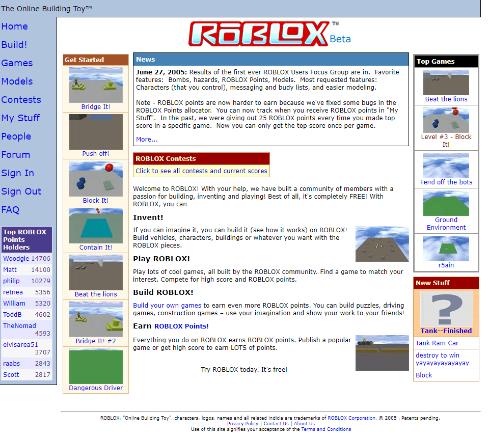 Roblox Homepage Roblox In 2005 Web Design Museum