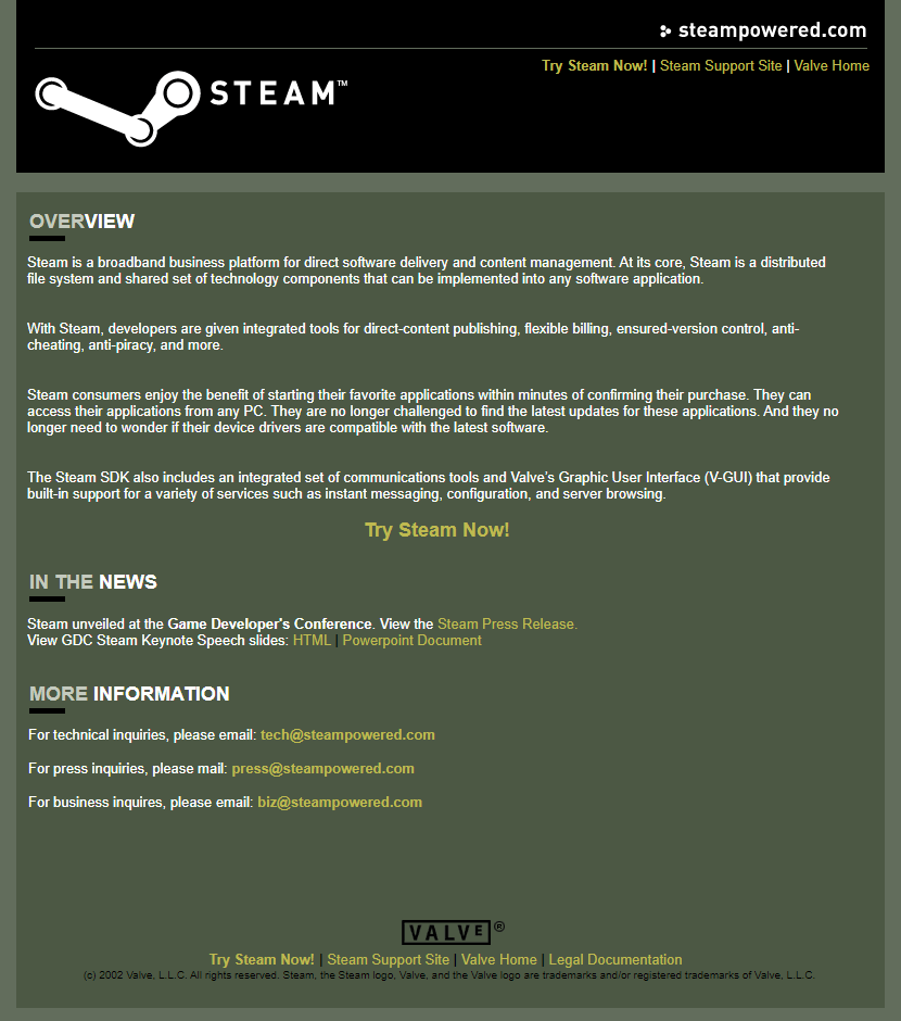 Steam in 2002