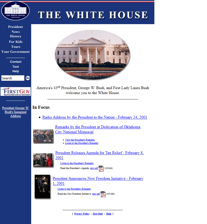 The White House in 2001