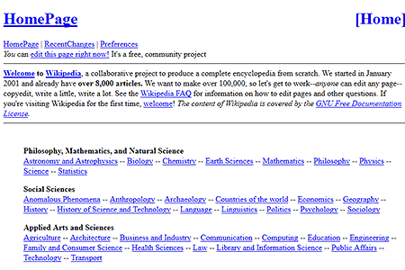 Wikipedia website in 2001