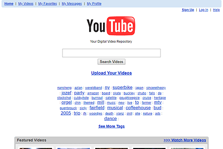 YouTube website in 2005