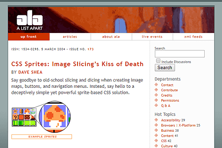 CSS Sprites: Image Slicing's Kiss of Death BY Dave Shea