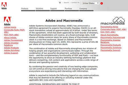 Adobe purchased Macromedia 2005