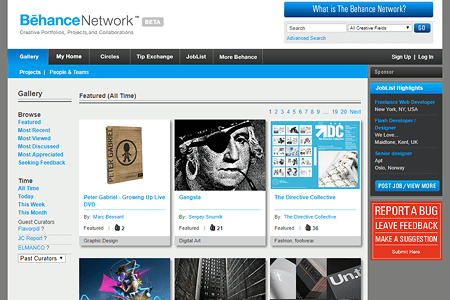 Behance Network website in 2008