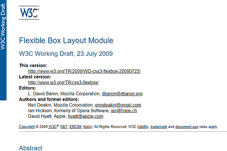 CSS Flexible Box Layout working draft 2009