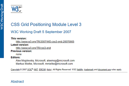 CSS Grid working draft 2007