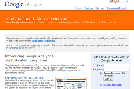 Google Analytics website in 2005