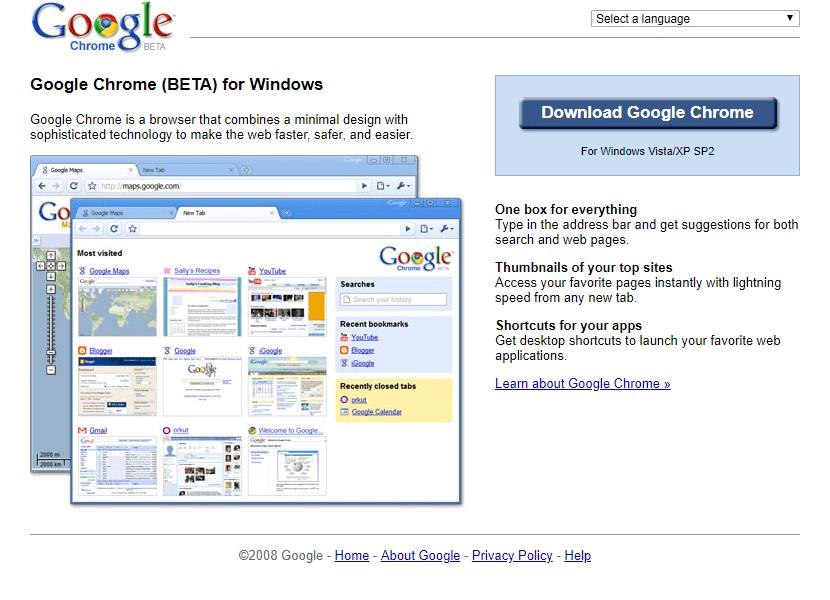 Google Chrome - 2008   Web Design Museum