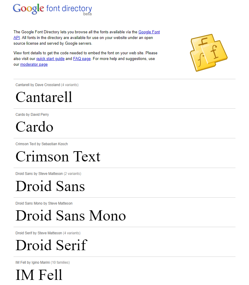 Google Web Fonts website in 2010