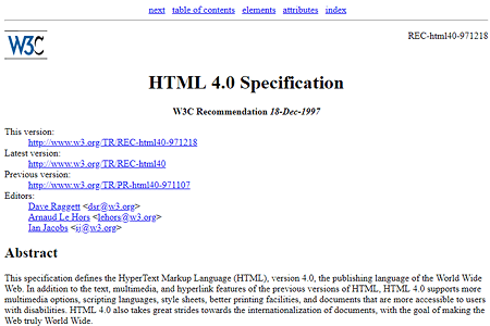 HTML 4.0 specification 1997
