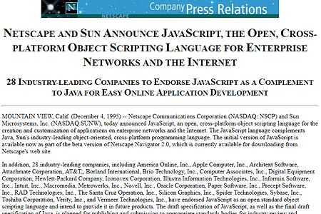 Netscape and Sun announce JavaScript